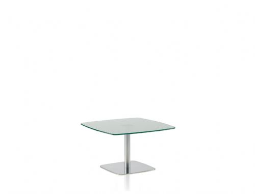 Pledge Box 680mm x 680mm Breakout Table With Frosted Glass Top With Flat Square Base